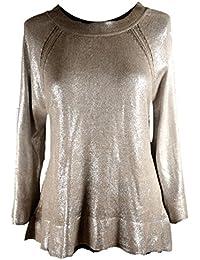 Damen Winter Übergang Gold Print Pullover Strickkleid Tunika 36 38 40 42 S  M L Beige Shirt Office be044c4b17