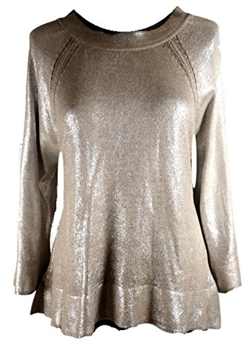 Damen Winter Übergang Gold Print Pullover Strickkleid Tunika 36 38 40 42 S M L Beige Shirt Office Party (42)