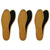 Lenzen 3 Pairs Leather Shoe Insoles with Activated Carbon