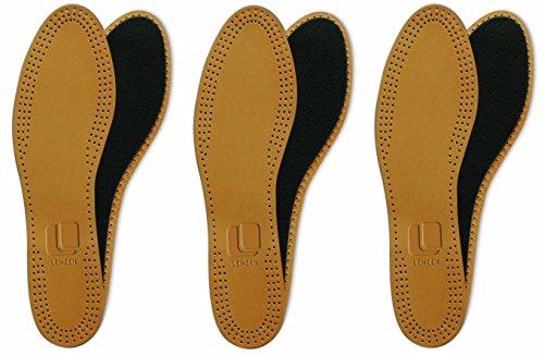 Lenzen Luxus Leather Dreierpack Echtleder Einlegesohle, Premium, Aktivkohle, Geruchsabsorber, hohe Paßgenauigkeit im Schuh, sehr dünn und weich, atmungsaktiv (46)