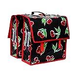 Bunte Fahrradtasche für Gepäckträger Satteltasche Packtasche aus Wachstuch, für Damen, wasserdicht, mit Tragegriff und Abnehmbarem Schultergurt, Handarbeit Cerezas schwarz