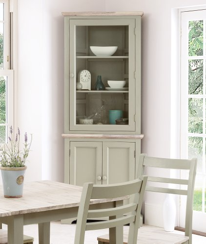 Florence Corner Display Cabinet Dresser Large With Shelf And Glass Door In Sage Green Colour QUALITY Kitchen Furniture