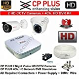 #8: CP PLUS 2 HD CCTV Cameras (1MP) with 4Ch. HD DVR Kit With All Accessories