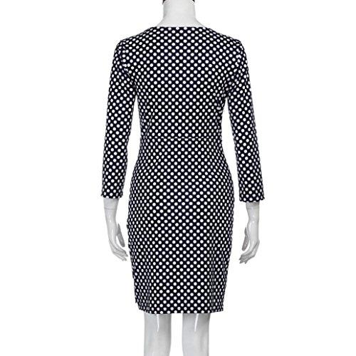OverDose,Grande Taille Femmes Robe Drapée Imprimé Pois Sexy Col V Manches Mi-longue Dress Noir