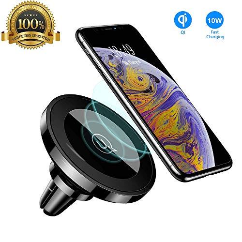 USAMS Induktion Handyhalterung fürs Auto Magnet, Qi Kfz Handy Halterung Induktiv Wireless Charger Handyhalter Lüftung Autohalterung für iPhone X 8/8 Plus, Samsung Galaxy S9+/S8 S7/S6 Edge Note 8/5