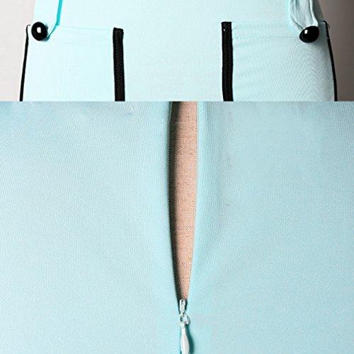Smile YKK Robe Elégante Femme Manche Courte Col Rond déguisement Cérémonie Soirée Bureau Eté Bleu