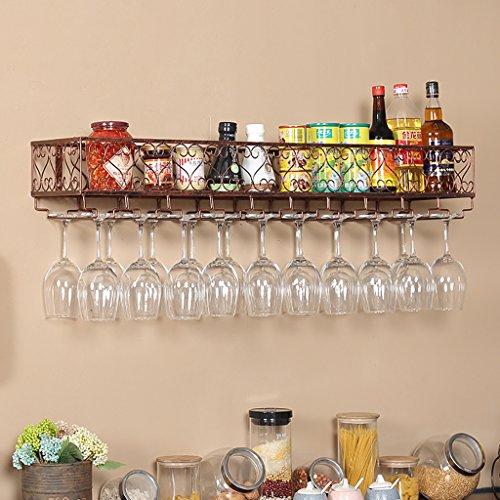Bottle Holder IAIZI Iron Multifunction Iron Wine Rack Antioxidant Decoration Rack for Bars Restaurants Bronze Kitchens (Size: 80 * 25cm)