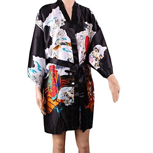 ACVIP Femmes Robe de Nuit Court,Kimono Motif Style Japonais,Peignoir Cardigan, Taille Normale Noir