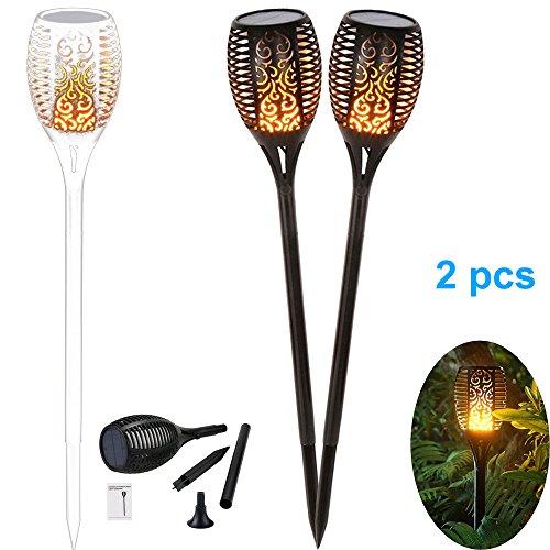 2 Stück Solar Garten Flammen Fackeln 96 LED Bis Dawn Automatische Ein/Aus(Licht Sensor), spotlight Gartenleuchte licht garten beleuchtung solar spotlight Außen warmlicht Wasserdicht IP65 (Outdoor-lichter Fotozelle)