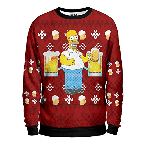 I SIMPSON CHRISTMAS - Sweatshirt Man - Felpa Uomo Natale - The Simpson Homer Bart Lisa Marge Maggie, T-Shirt Cartone Animato Cartoon