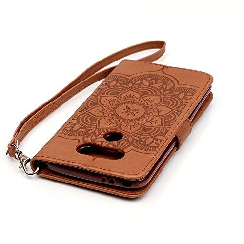 iPhone 7 4.7 Custodia (Con Gratuito HD Proteggi Schermo) CaseHome Cacciatore di sogni Mandala Fiore Sbalzato Progettazione stile del libro Foglio flip magnetico Chiusura Costruito In Stand Full Body Marrone