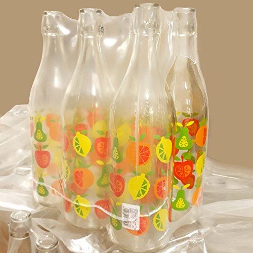 Set 6 pezzi Bottiglia vintage Cerve decoro frutta da 1 litro elegante con tappo meccanico ermetico per acqua olio bevande preparazione e conserva cocktail