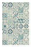 Tapis Vinyle Lino PVC (Carreaux de Ciment Bleu, 100 x 160 cm)