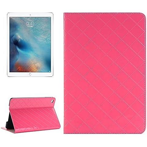 Tavoletta Custodie & Cover, Custodia in pelle luminosa griglia di struttura della pelle Ribaltamento orizzontale con il supporto di carta &Slots e portafoglio per iPad Pro 12,9 pollici ( Colore : Rosa )
