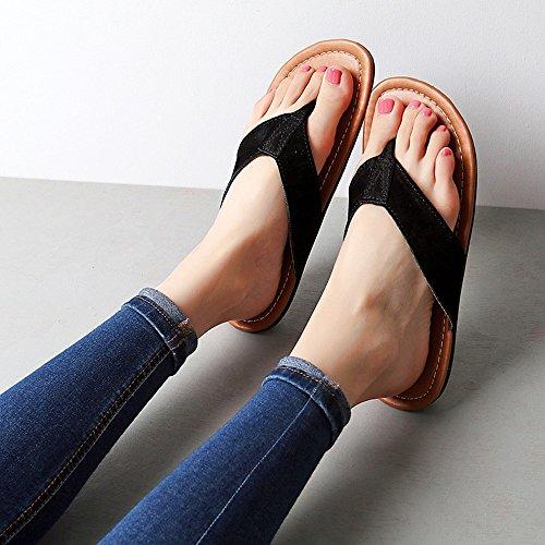 HAIZHEN Pantofole della casa Sandali Flip-flop femminile Femmine femmine pantofole fresche Scarpe da spiaggia per maschio / femmina Per le donne e gli uomini ( Colore : Grigio , dimensioni : EU41/UK7. Nero