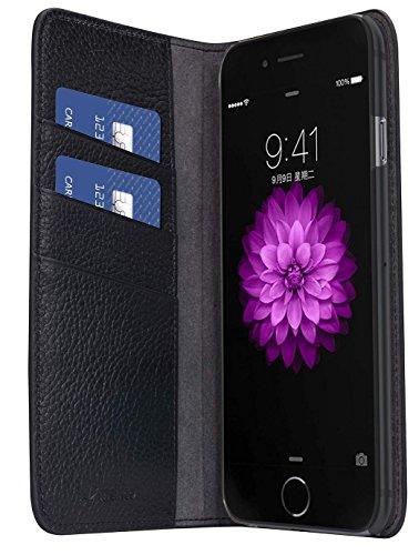 Apple Iphone 7 Melkco Cuir de vachette Premium Herman Series Housse de style livre avec cuir de qualité supérieure Fabriqué à la main Bonne protection, Premium Feel-Orange Brown Black Lychee