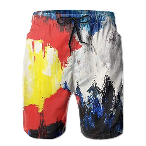 Men's Swim Trunks American Colorado Forest Art Surfing Beach Board Shorts Swimwear M -