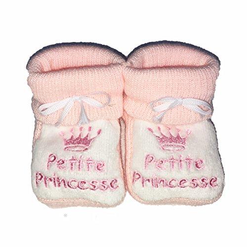 Chaussons bébé de 0 à 3 mois Rose et Blanc - Je suis une petite Princesse