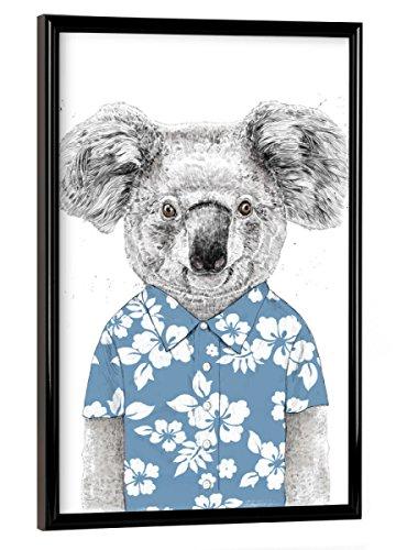 artboxONE Poster mit Rahmen 30x20 cm Summer Koala (Blue) von Künstler Balázs Solti - Poster mit Kunststoffrahmen (Blue Hawaiian Shirt)