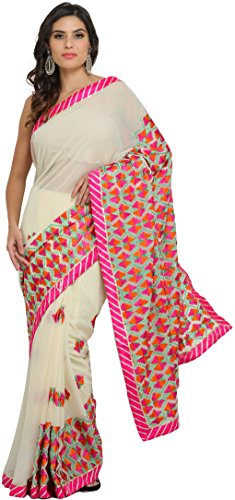 Exotic India Ivory and Pink Phulkari Saree from Punjab with Embroidered -...