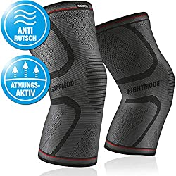 Kniebandagen Sport (2er Set) stabilisierend, schmerzlindernd und schützend - Rutschfeste Knie Bandage für Herren und Damen - Knieschoner für Kompression, Laufen, Kickboxen, Wandern, Crossfit - L