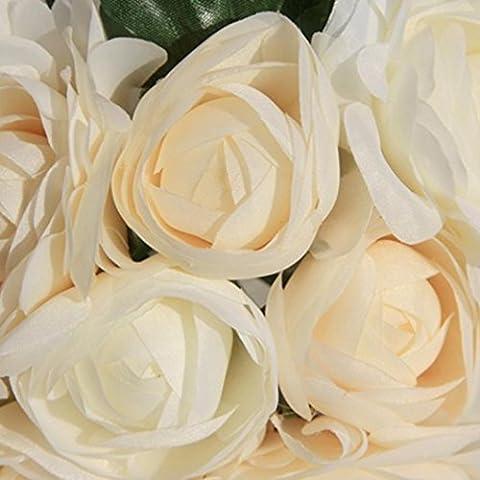 Fulltime® 8 teste di fiori rose di seta falso Fiore Foglia artificiale decorazioni di nozze a casa bouquet da sposa (Beige)