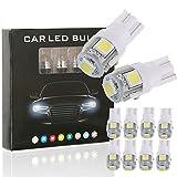 10PCS T10 LED Ampoules de Voiture Lampe W5W 5 SMD, MODOCA 5050 Lampes D'intérieur, Feu De Stationnement, Voiture Lampes De Lecture De Plaques, D'immatriculation Lumières 12V, Blanc