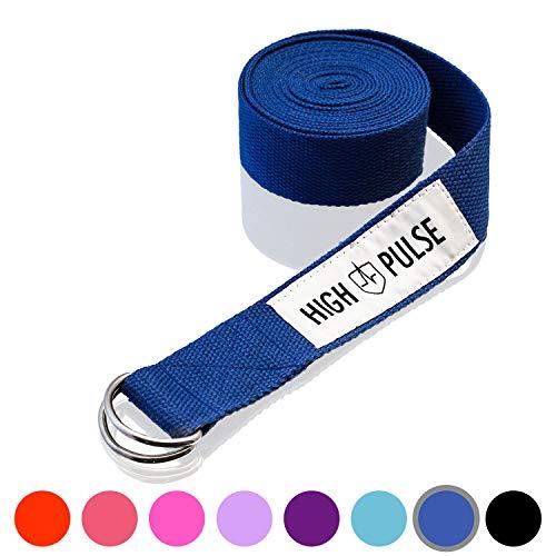 High Pulse® Yogagurt (300 x 3,8 cm) – Hochwertiger Yoga Gurt mit Verschluss als praktisches Hilfsmittel beim Yoga oder Pilates – 100% Baumwolle