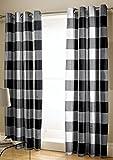 Catherine Lansfield Boston Vorhänge pflegeleicht, kariert 167,6x 182,9cm, Polyester-, schwarz, 27,5x 5,5x 38cm