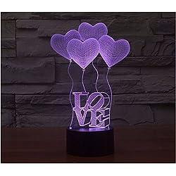 AMOR Heart Balloon 3D Illusion Lamp Led Night Light, USB Powered 7 colores intermitentes Touch Switch Nightlight, iluminación de la decoración del dormitorio para los amantes de la novedad regalo de cumpleaños de Navidad para niños