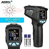 Infrarot Thermometer MESTEK Temperaturmessgerät IR Pyrometer Laser Digital Thermometer -50°C bis 800°C Berührungslos mit Farbe lcd Alarmfunktion Einstellbarer Emissionsgrad Küche Drinnen/Draußen