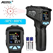 Infrared Thermometer Temperature Gun MESTEK Non-Contact Laser Digital Thermometer with Color LCD Screen -58℉~1472℉(-50℃~800℃) Adjustable Emissivity Humidity Alarm Hold Indoor Food Cooking Outdoor