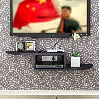 Lagerregal ZHIRONG Wohnzimmer-Wand-Set-Top-Box-Rack TV-Konsole für DVD-Player/Kabel-Boxen/Router / Fernbedienungen/Spiel 60 * 20 * 12CM (Farbe : SCHWARZ)