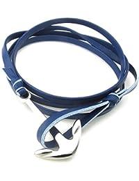 KONOV Bijoux Bracelet Homme - Anchor Ancre - Cuir - Acier Inoxydable - Fantaisie - pour Homme et Femme - Chaîne de Main - Couleur Bleu Argent - Avec Sac Cadeau