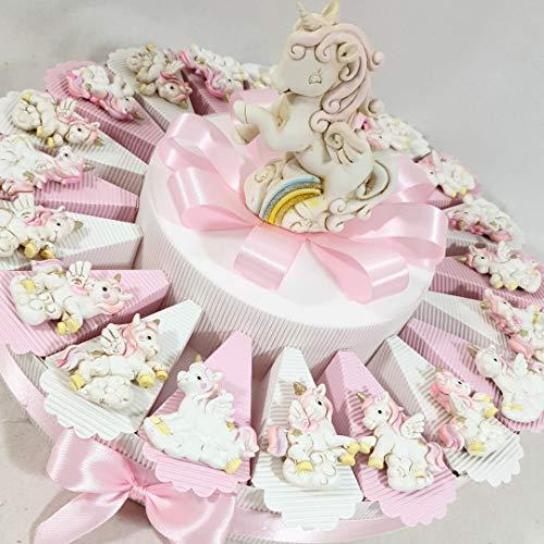 Sindy Bomboniere Torta Unicorno Magnete Femminuccia e salvadanaio, bomboniere Battesimo Online, Porcellana, 20 Fette 1 Piano, 4,5 cm Circa