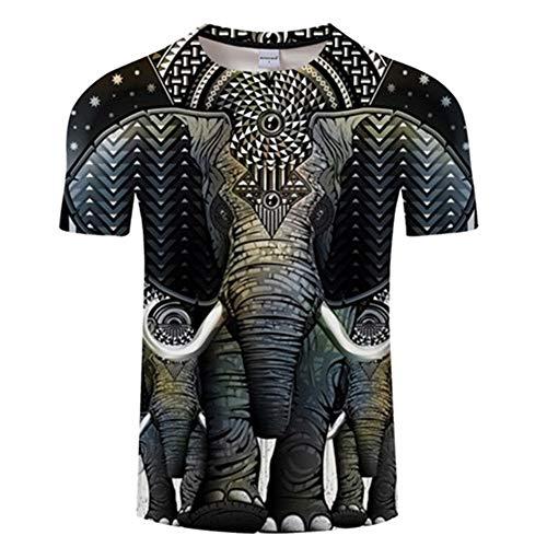 Jonyn Camisetas T-Shirt Hombre Manga Corta Casual Top Algodón/Poliéster Suave Secado Rapido Sudadera tee Elefante Gráficos S