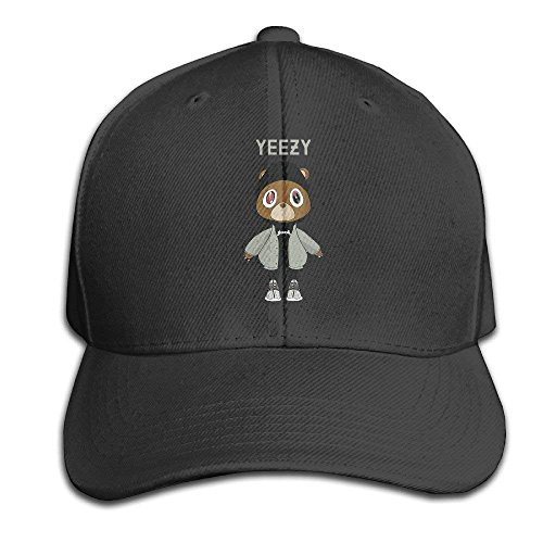 Cap Hat Kanye West Bear Adjustable Peaked Baseball Caps Hats For Unisex Black