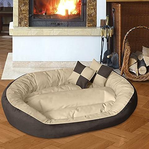 BedDog 4in1 Hundebett SABA / Wende-Hunde-Kissen oval / großes Hundekörbchen / abwischbares Hundebett mit Rand / für drinnen & draußen / XXL / MELANGE / beige-braun