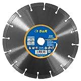 S&R Disco Diamantato 230 x 22,2 mm Standard Universale per Cemento, Calcestruzzo, Pietra, Mattoni. Saldato al laser. Taglio a secco (230 x 22,2 mm)