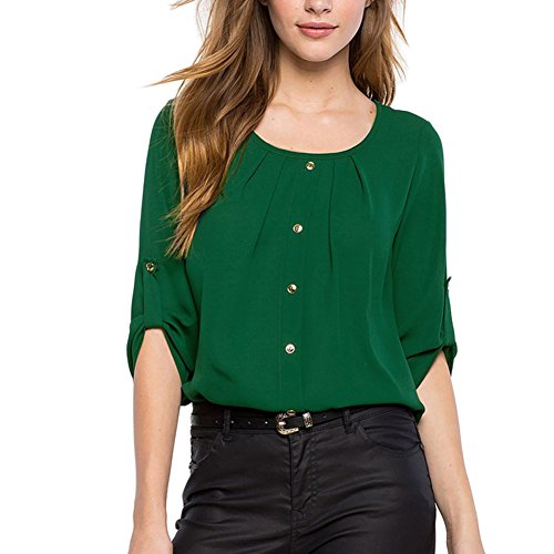 ROPALIA T-Shirt Femme Casual Chemise Blouse Col Rond avec bouton Vert