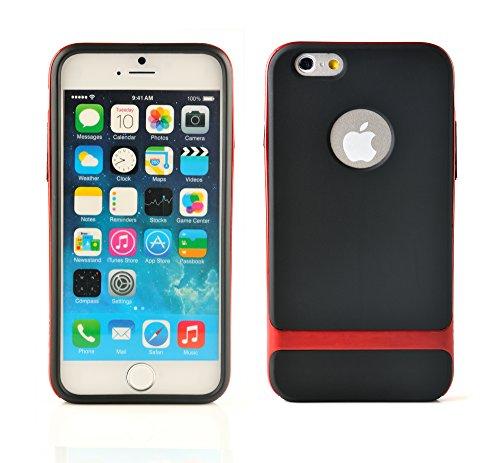 iProtect Schutzhülle Apple iPhone 6 (4,7'') biegsames Soft Case gummiert schwarz und orange Soft Case Gummiert Schwarz + Rot