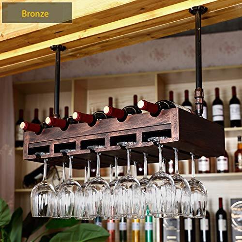 Wine Rack - Haushalts-Massivholz-Weinregal, Rote Flasche Mit 5 Anhängern, Höhenverstellbar (Farbe...