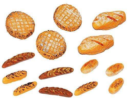 3 Stück: Brot Brötchen Baguette - Miniatur aus Holz / Maßstab 1:12 - Lebensmittel Zubehör Brötchen / Brot und BaguetteKüche Puppenstube / Puppenhaus - Puppenküche Deko Brotsorten Semmel Brote - Bäckerei