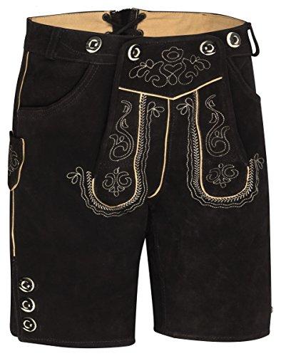 Herren Trachten Kurz Lederhose mit Träger antikbraun, schwarz (54)