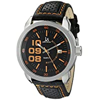 Joshua & Sons Men's JX106OR Silver Quartz Watch with Black and Orange Accented Dial And Black Leather Strap