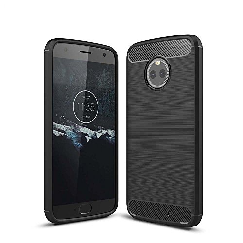 Cover Moto X4, WindTeco Slim Fit Custodia Protettiva Morbido TPU Design in Fibra di Carbonio con Doppio Stratto Shock-Assorbente per Motorola Moto X4 Smartphone