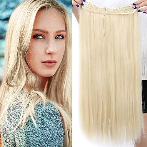 Extension capelli biondi fascia unica capelli lunghi lisci one piece hair extensions 5 clips 3/4 full head larga 25cm lunga 58cm resistente al calore