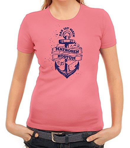 Fasching Karneval Damen T-Shirt mit Das ist mein Matrosen Kostüm 1 Motiv von ShirtStreet Rosa