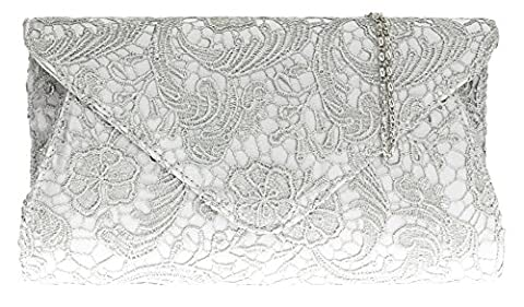 Girly HandBags Satin Lace Clutch Bag Oversized Womens Evening Events Fashion Shoulder Chain -- Silver
