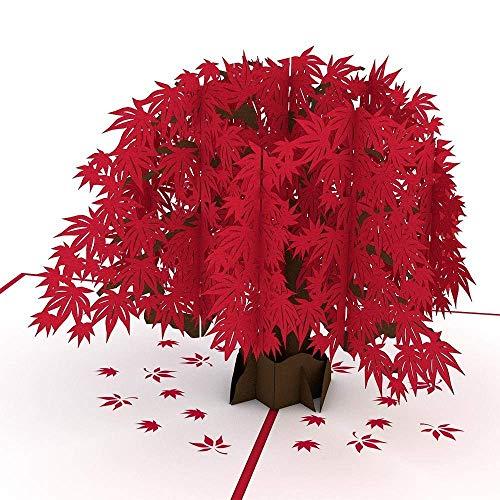3D Karte, ABREOME Pop up Karte HochzeitSkarte Keburtstagskarte Danksagungskarte Hochzeits-Einladungskarte, Valentinstag-Karte, Japanische Ahorn Pop Up Klapp-Karte mit Red Maple Leaf 3D Paper